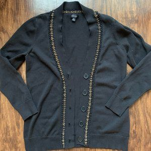 nine west black cardigan with gold chain detail